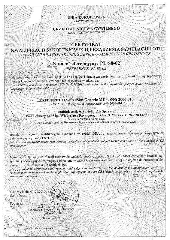 EASA FNPTII certificate