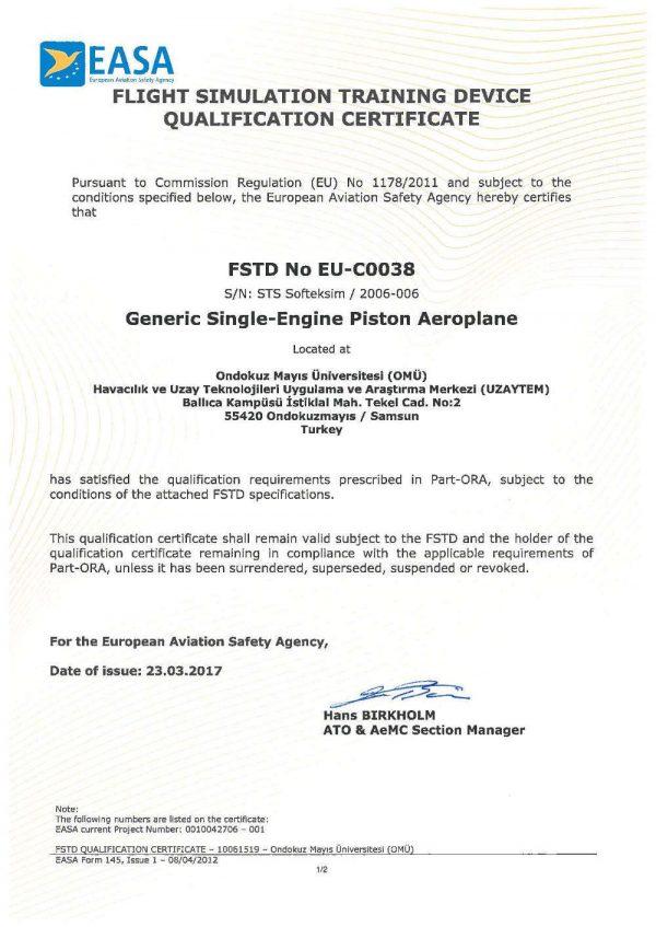 EASA SEP FNPTII certificate