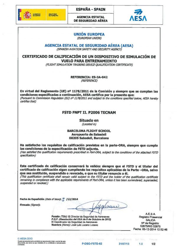 EASA FNPTII compliance certificate