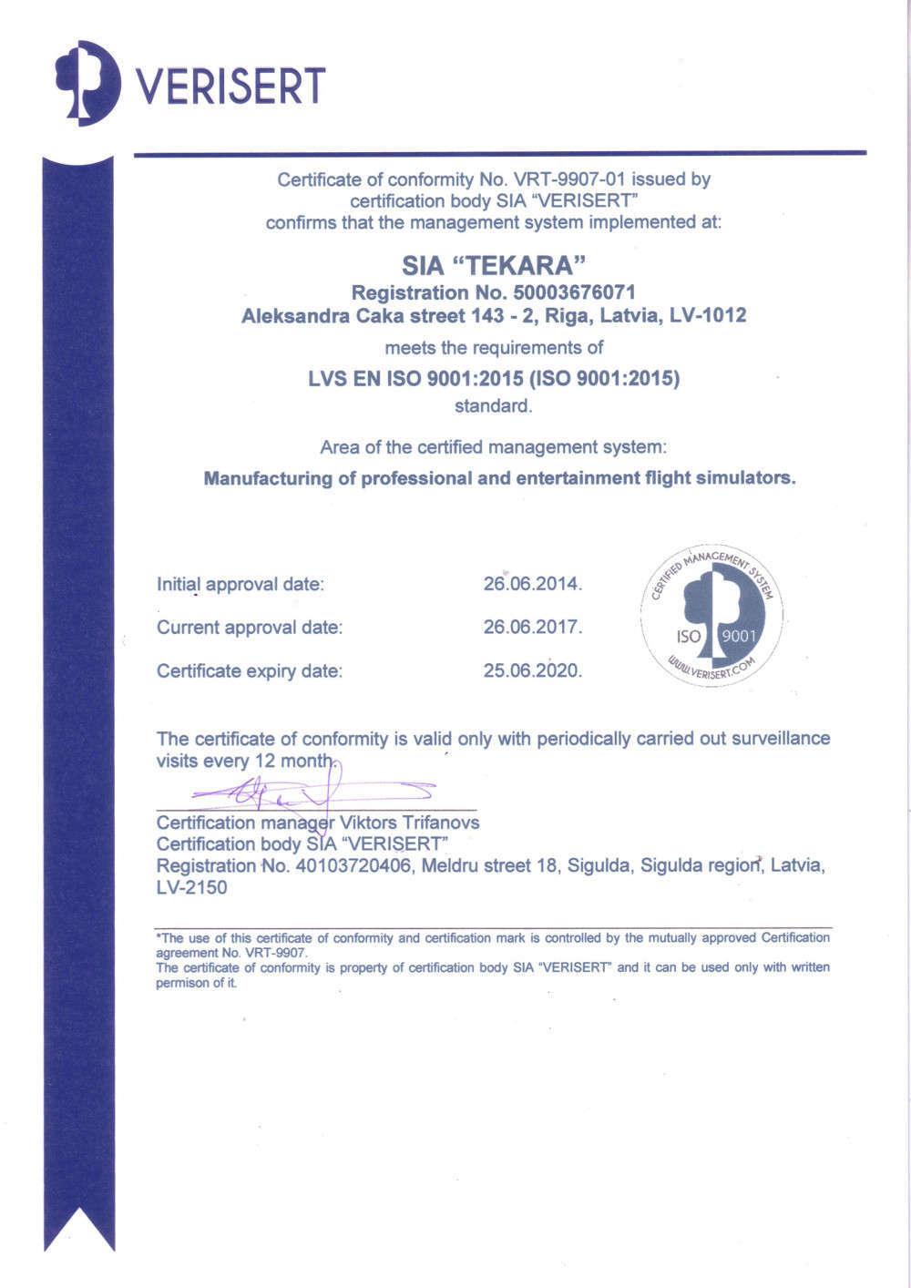 SoftekSim ISO 9001 certificate